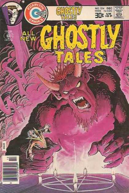 Ghostly Tales 124 - Charlton Comics - Purple Demon - Warlock - Pentagram - Purple Smoke