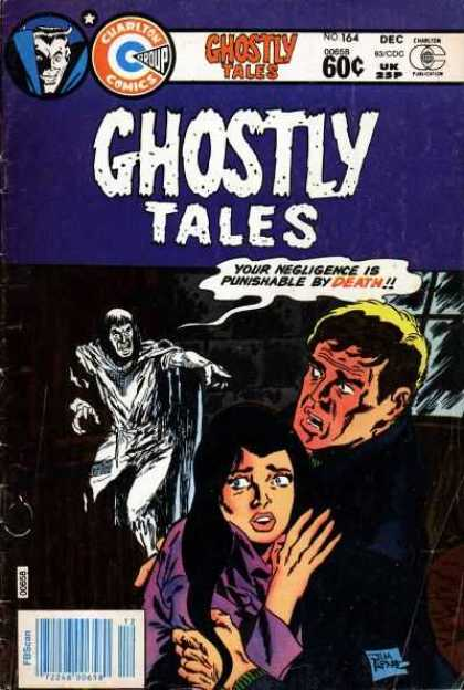 Ghostly Tales 164 - Charlton Comics - Brunette Woman - Purple Shirt - Negligence Is Punishable By Death - Man