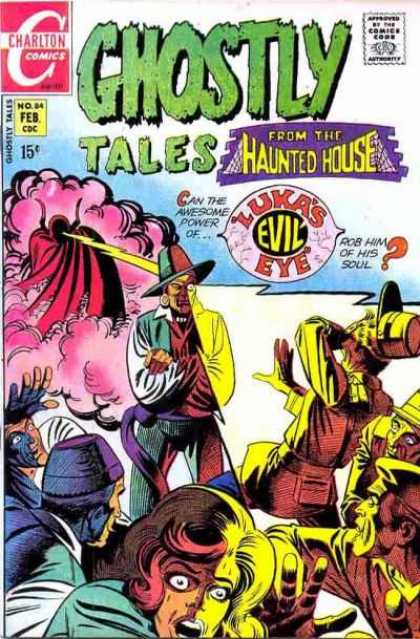 Ghostly Tales 84 - Hauted House - Lukas Evil Eye - Charlton Comics - Crowd - Lightening