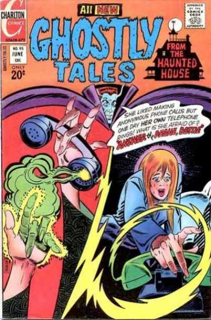Ghostly Tales 95 - Vampire - Charlton - Telephone - Green Mist - Haunted House