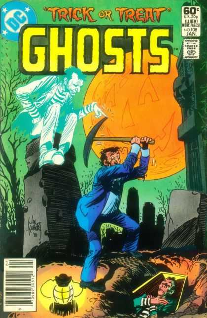Ghosts 108 - Undertaker - Cemetery - Pickax - Moon - Jack O Lantern - Joe Kubert