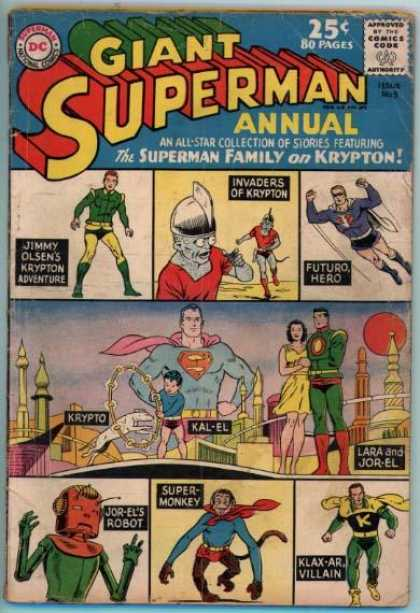 Giant Superman Annual 5 - Superman - The Superman Family On Krypton - Jor-el - Super Monkey - Klax-ar