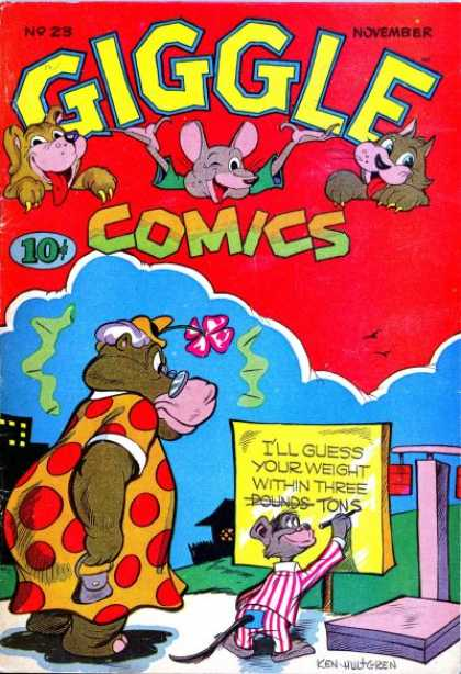 Giggle Comics 23 - Hippo In A Dress - Flower On A Hat - Mouse - Three Tons - Polka Dot Dress