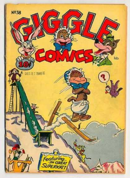 Giggle Comics 38 - Superkatt - Rabbit - Slide - Skis - Dog
