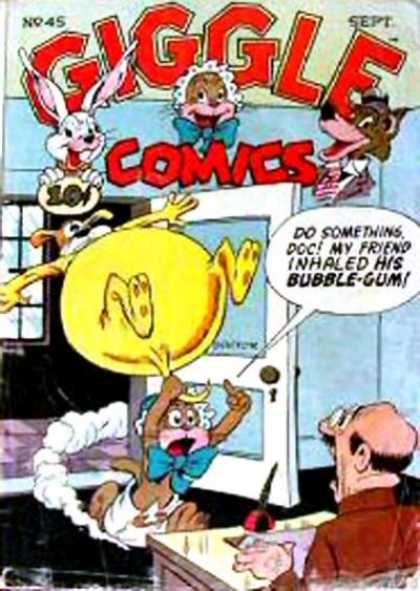 Giggle Comics 45 - No 45 - Yellow Dog - Bubble Gum - Blue Bow - Blue Bonnet