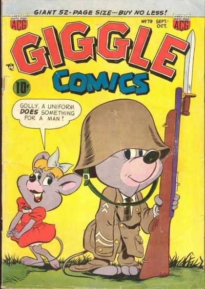 Giggle Comics 79 - Gun - Acg - Golly - A Uniform Does Something For A Man - Giant 52 Page Sizebuy No Less