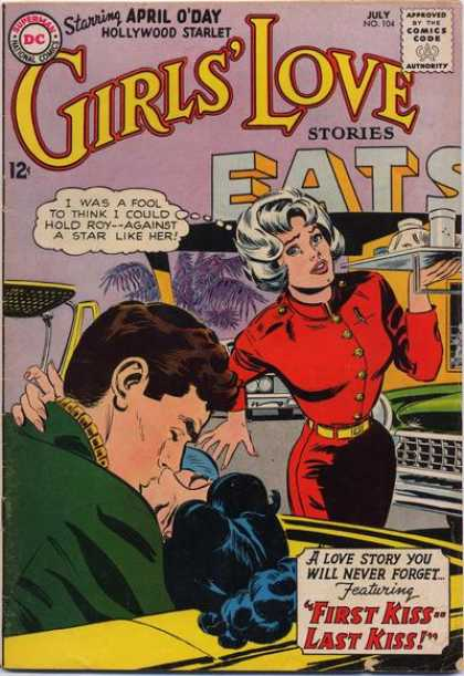 Girls' Love Stories 104 - Waitress - April Oday - Dc Comics - First Kiss Last Kiss - Red Uniform Shirt