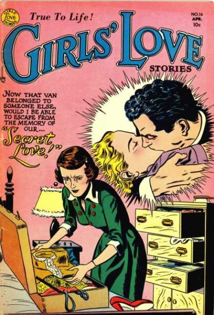 Girls' Love Stories 16 - Secret Love - Kissing - Romance - Silver Age - Female Audience