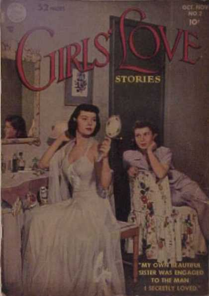 Girls' Love Stories 2 - Mirror - Looking In Mirror - Flowered Chair - Dressing Table - Gown