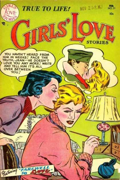 Girls' Love Stories 21 - True To Live - Soldier - Cheating - Feb No 21 - Farewell To Love