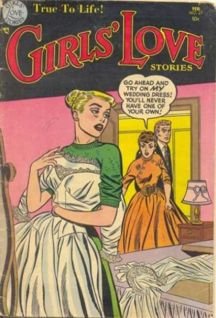 Girls' Love Stories 27 - Wedding Dress - Lamp - Bed - Speech Bubble - Hair Bun