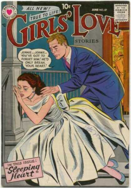 Girls' Love Stories 47 - June - 10 Cents - Crying Woman - Porch - White Dress