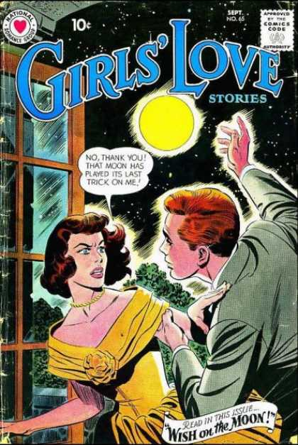Girls' Love Stories 65 - National Romance Group - Moon - Window - Approved By The Comics Code - Man