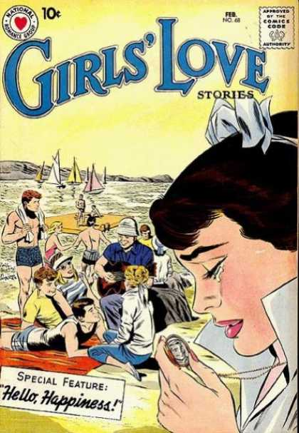 Girls' Love Stories 68 - Man - Beach - Sailboats - National - Approved By The Comics Code