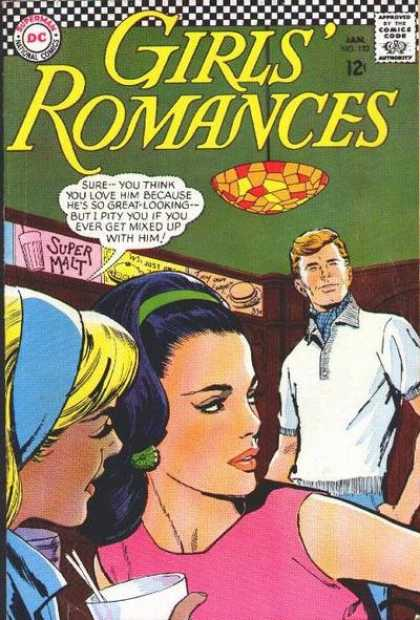 Girls' Romances 122 - Super Malt - Great Looking - Mixed Up With Him - Blonde And Brunette - Light Fixture