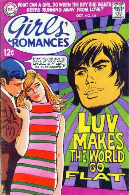 Girls' Romances 136 - Luv Makes The World Go Flat - Yellow Hair - Black Hair - Brown Coat - No 136