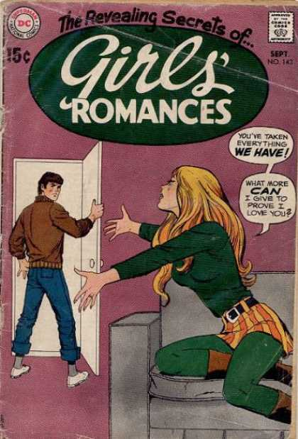 Girls' Romances 143 - Boy - Girl - Blonde Hair - Door - Couch
