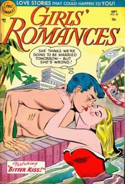 Girls' Romances 28 - Love Stories - Bitter Kiss - Blue Hair - Swimming Pool - Red Bathing Suit