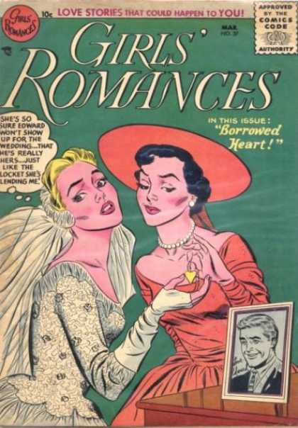 Girls' Romances 37 - March - Speech Bubble - Red Hat - Borrowed Heart - Blonde