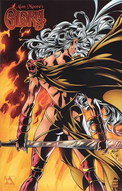 Glory 21 - Woman - Sword - White Hair - Fire