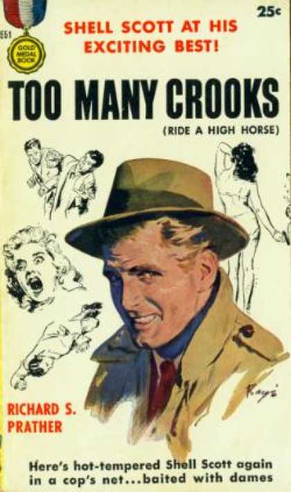 Gold Medal Books - Too Many Crooks - Richard S., Illustrated By Cover Painting By Barye Phillips Pr
