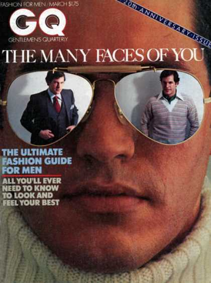 GQ - March 197720th Anniversary Issue - The Many Faces of You