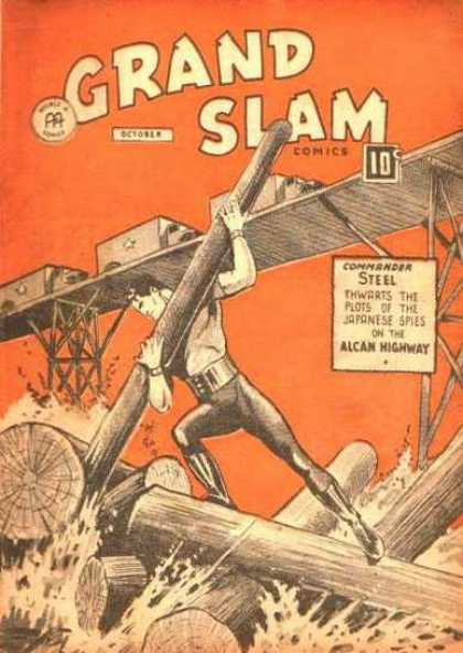 Grand Slam Comics 35 - Man - Log - Wood - Truck - Bridge