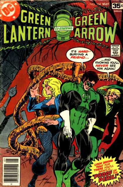 Green Lantern (1960) 104 - Funeral - Friend - Tentacls - Sadness - Black Canary - Mike Grell