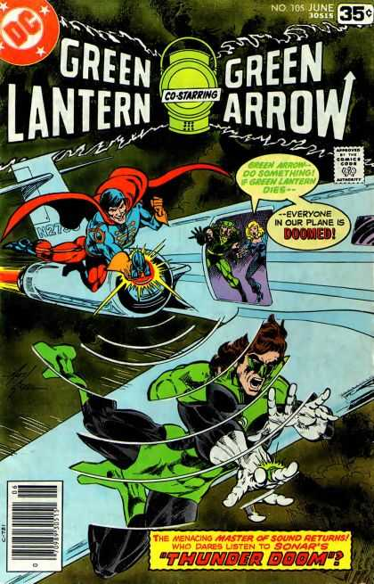 Green Lantern (1960) 105 - Airplane - Superman - Powers - Flight - Villains - Mike Grell