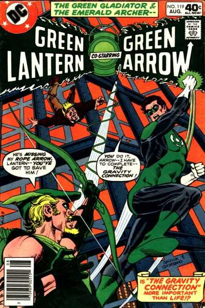 Green Lantern (1960) 119 - The Green Gladiator U0026 The Emerald Archer - Green Arrow - Construction Site - Falling Construction Worker - The Gravity Connection - Dick Giordano
