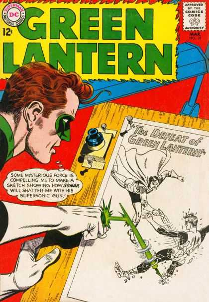 Green Lantern (1960) 19 - Dc Comics - Sonar - The Defeat Of - Ink - Supersonic Gun