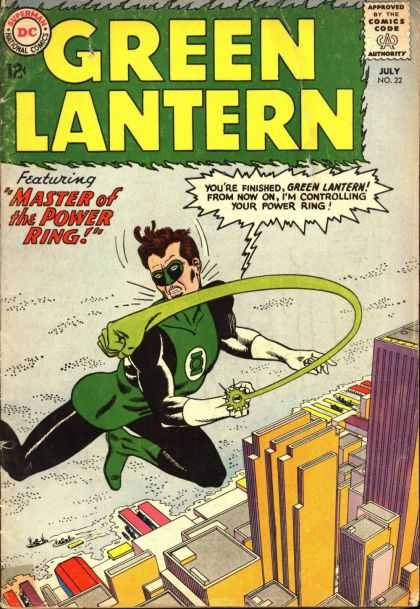 Green Lantern (1960) 22 - Green Lantern - Master Of The Power Ring - Dc Comics - Ring Punches Green Lantern - Flying Over Cityscape