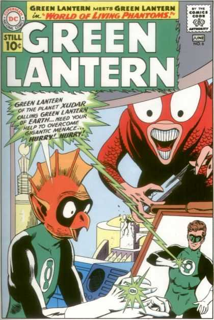 Green Lantern (1960) 6 - Lightning - Teeth - Beak - Hands - Shade