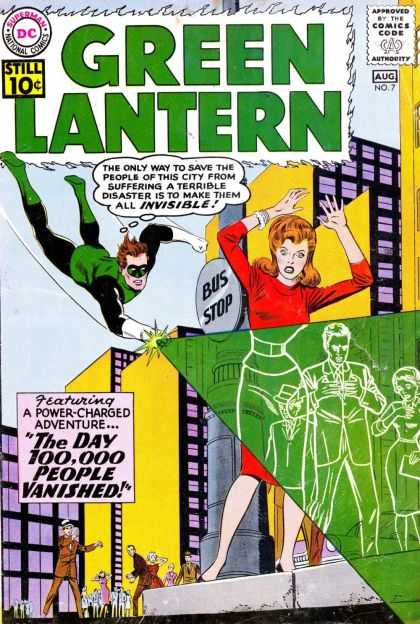 Green Lantern (1960) 7 - Green Super Hero - Invisible People - Green Ray - Big City - Flying