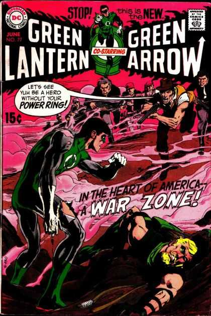 Green Lantern (1960) 77 - Superman National Comics - Approved By The Comics Code - Superhero - A War Zone - Rifle - Jack Adler, Neal Adams