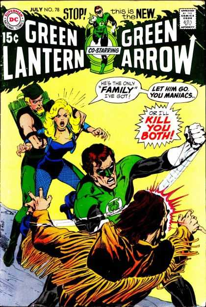Green Lantern (1960) 78 - Co-starring Green Arrow - 15 An Issue - Man Holding Woman In Back Ground - Woman Screaming At Men - Issue Number 78 - Jack Adler, Neal Adams