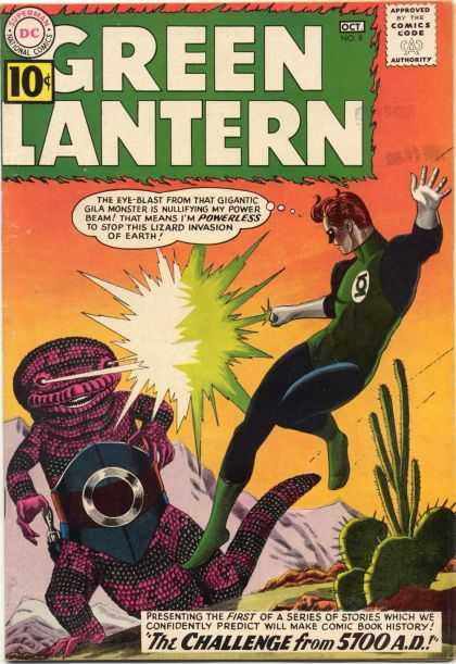 Green Lantern (1960) 8 - The Challenge From 5700 Ad - Gila Monster - Lizard Invasion - Power Beam - Desert - Jack Adler