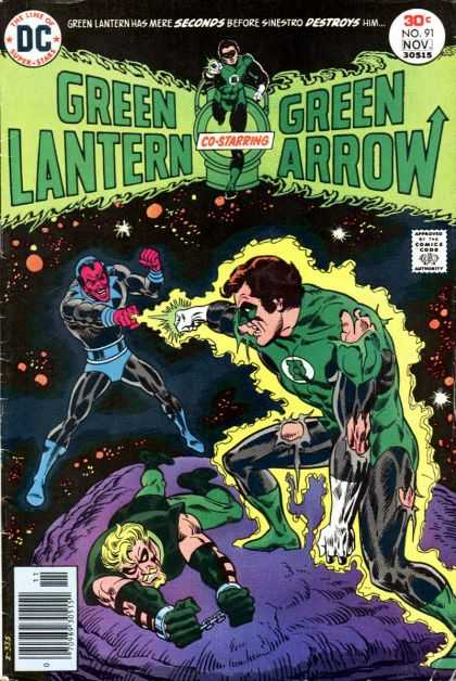 Green Lantern (1960) 91 - Co-starring Green Arrow - Torn Green Costume - Archer Chained To Purple Rock - Red Faced Decil - Outer Space