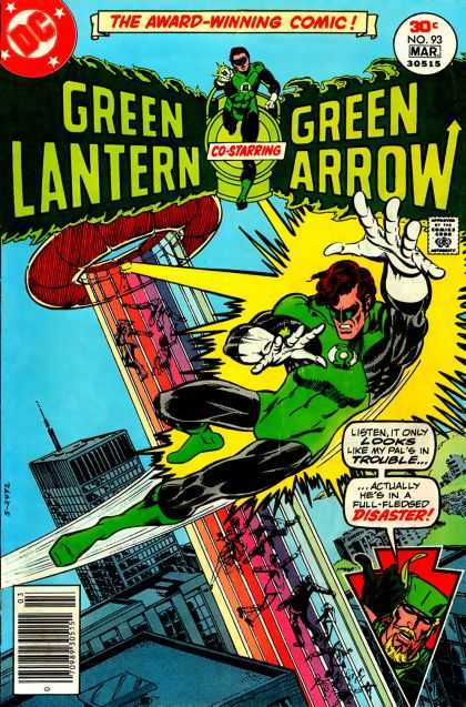 Green Lantern (1960) 93 - Green Arrow - Ufo Beaming People Up - Gray Skyscraper - Multi Colored Lights - Green Laser - Mike Grell