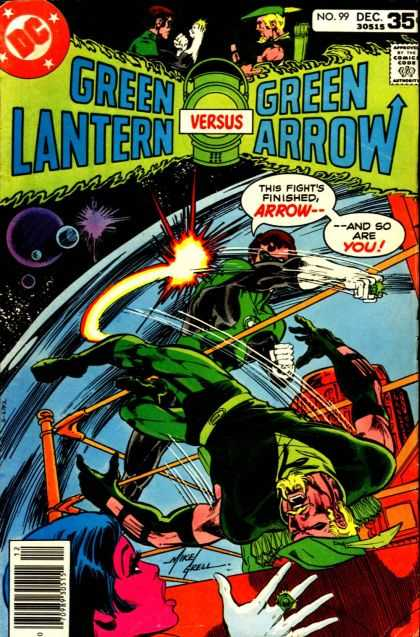 Green Lantern (1960) 99 - Green Arrow - This Fights Finished - Space - In Orbit - Boxing Ring - Mike Grell
