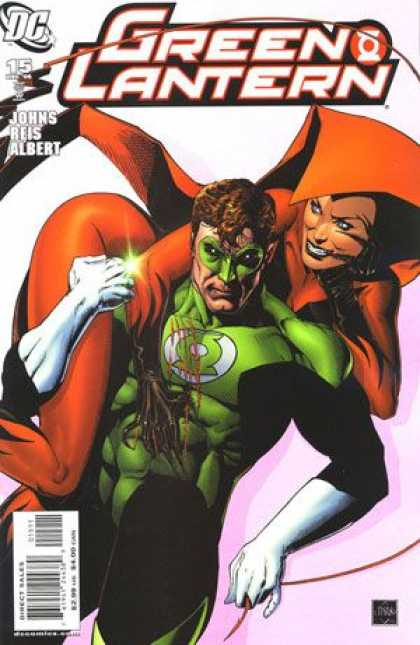 Green Lantern (2005) 15 - Superhero In Green - Superhero With Super Lady - Superlady In Reddishorange Costume - Superhero With Lady On Shoulders - Pretty Lady - Sciver Van