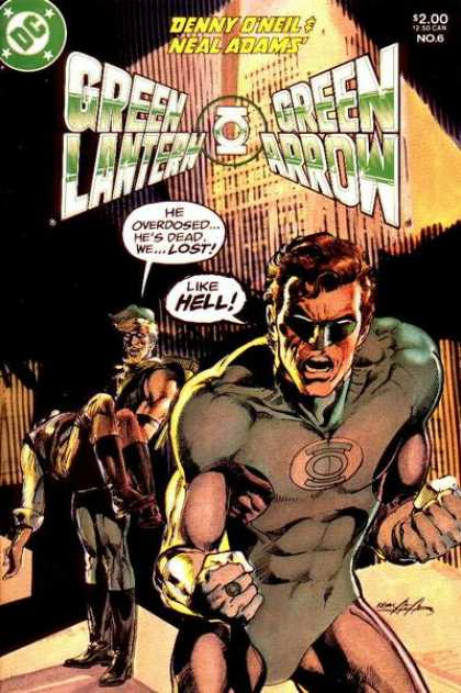 Green Lantern/ Green Arrow 6 - Angry Green Lantern - Green Arrow Holding Dead Person - 1990s Edition - 2 Authors - Black Bland Background