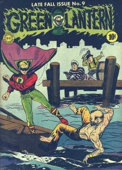 Green Lantern 9 - Late Fall Issue No 9 - 10 Cents - Robber - Man Holding Wrench - Pier - Sheldon Moldoff