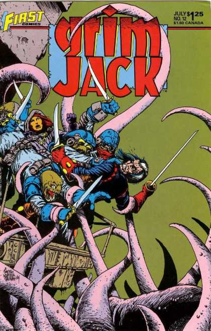 Grimjack 12 - Tentacle - Swords - Green Background - Fighting - Green Faced Guy - Timothy Truman