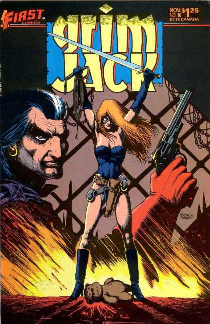 Grimjack 16 - Wepons - Chains - Fire - Man - Woman - Timothy Truman