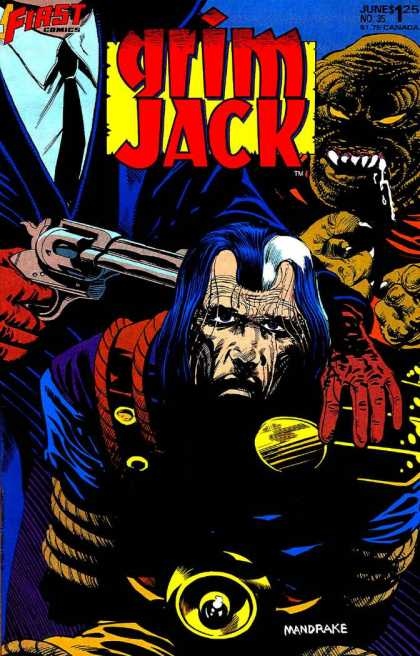 Grimjack 35 - Gun - Drooling Monster - Tied Up - Red Gloves - Blue White Hair