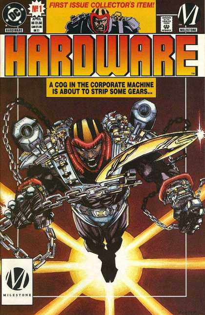 Hardware 1 - A Cog In The Corporate Machine Is About To Strip Some Gears - First Issue Collectors Item - Mile Stone - Chain - Shouting - Denys Cowan, Jimmy Palmiotti