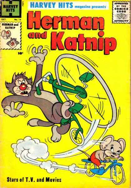 Harvey Hits 14 - Comics Code - Herman And Katnip - Cat - Mouse - Stars Of Tv And Movies