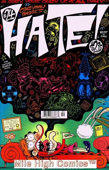 Hate 24 - Crazyman Bagge - Chalk Drawings - Mature Readers - Crazy - Mile High Comics - Peter Bagge