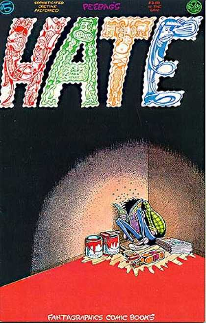 Hate 5 - Peebag - Man Sitting In Corner - Reading Book - Paint Cans - Red Floor - Peter Bagge
